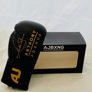 Anthony Joshua Signed  Black And Gold Boxing Glove In ( AJBXNG )