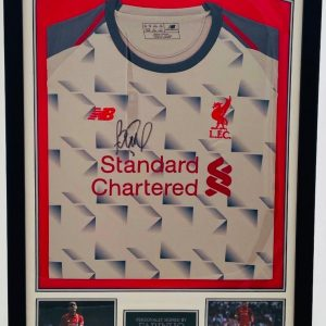 Framed Liverpool away shirt signed by Fabinho