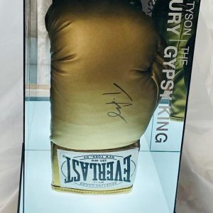 Tyson Fury Gypsy King Hand Signed Gold Everlast Boxing Glove In Light-Up Quality Display Case