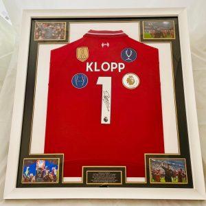 Liverpool  shirt signed On The Number 1 by Jürgen Klopp nicely Framed