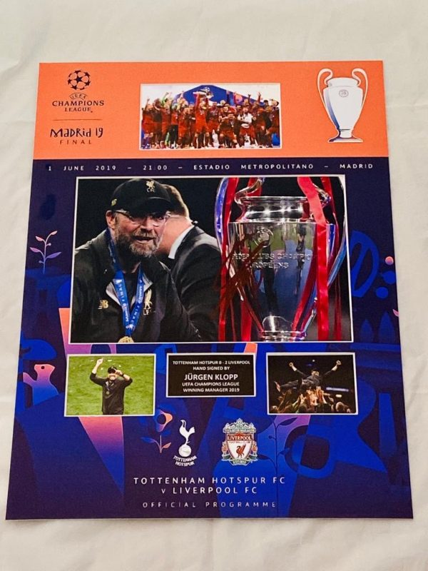 Liverpool Champions League Final Madrid programme montage Celebrations   Signed by Jurgen klopp