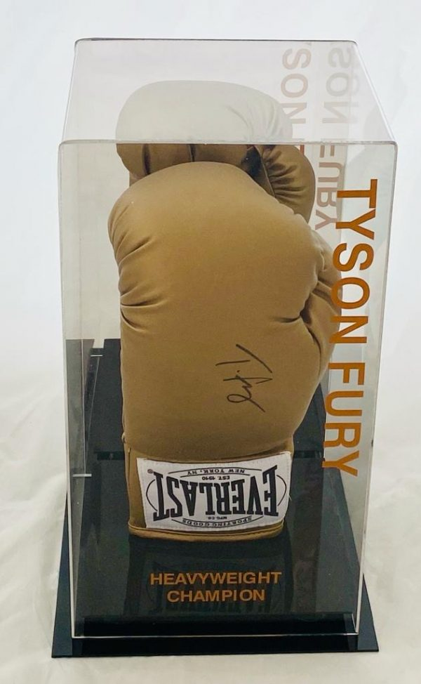 Tyson Fury the Gypsy King Hand Signed Everlast Gold Boxing Glove With Quality Display Case