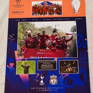 Liverpool Champions League Final Madrid montage celebrations signed by Jurgen Klopp