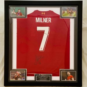 Liverpool Football Shirt Signed by James Milner, Professionally Framed