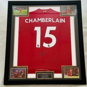 Champions Liverpool Home Football Shirt signed by Oxlade-Chamberlain Framed