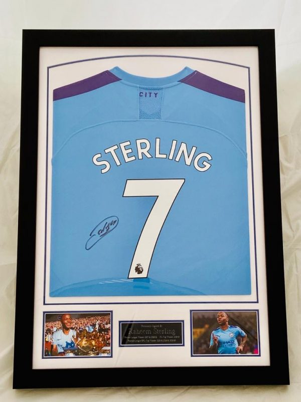 Manchester City Football Shirt Signed by Raheem Sterling, professionally framed