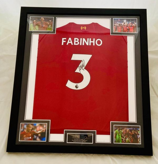 Professionally Framed Liverpool home shirt signed by Fabinho on the number 3
