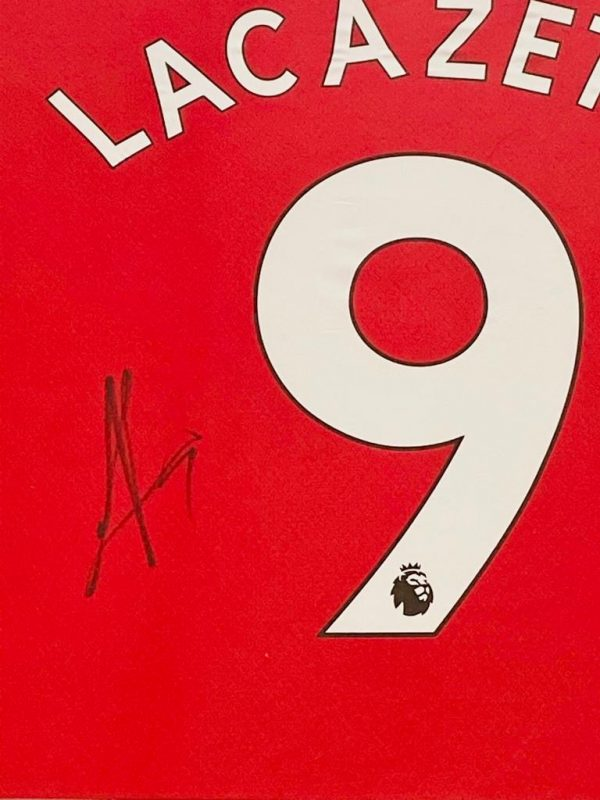 Arsenal home shirt signed by Alexandre Lacazette In a Black Frame