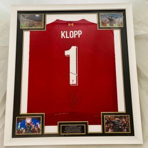Professionally Framed Liverpool home shirt signed by Jürgen Klopp