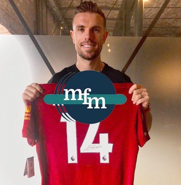 Liverpool home 2018/19 shirt signed by Jordan Henderson ( Captain ) , Framed