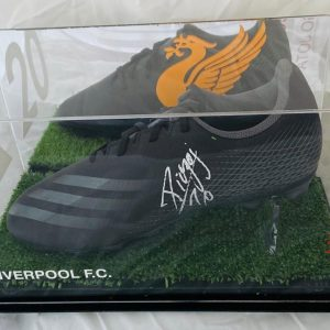 Black Football boot in a quality display signed by Diogo Jota