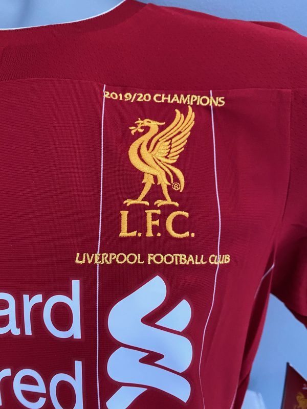 Liverpool Premier League Champions Embroidered 2018/19 0n front of shirt signed by Jürgen Klopp