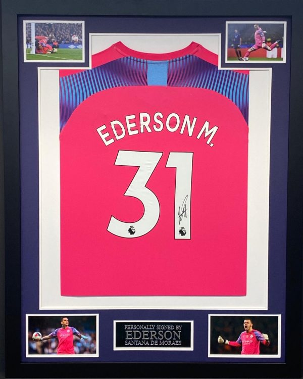 Manchester City Goalkeeper Shirt Signed by Ederson, professionally framed