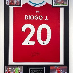 Liverpool Football shirt 2020/2021 season in a quality white  framed display signed by Diogo Jota