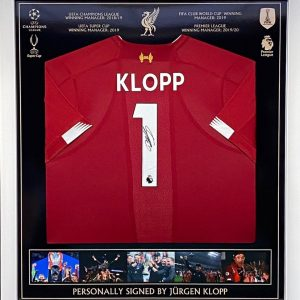 Framed Liverpool  home shirt 2019/2020 signed by Jürgen Klopp great item
