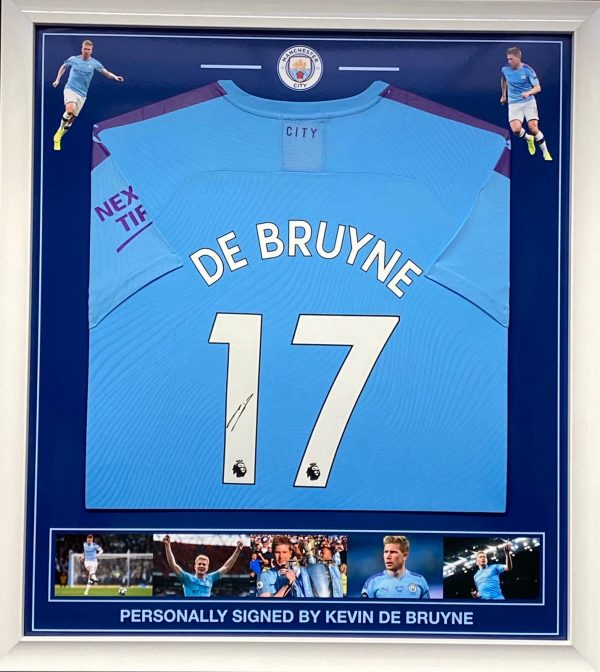 Manchester City shirt signed by De Bruyne , professionally framed