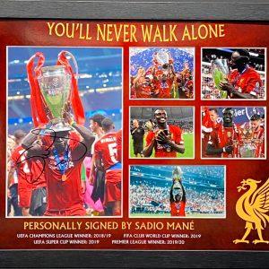 Liverpool signed Sadio Mane Photo Montage Framed Trophy Celebrations