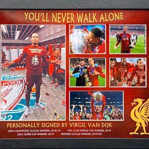 Liverpool signed Virgil Van Dijk Photo Montage Framed of The trophy Celebrations