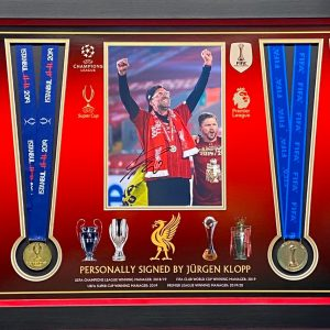 Liverpool Medal Montage Celebrating Cup Wins Fantastic item, includes 4 medals and Klopp signed picture , framed professionally