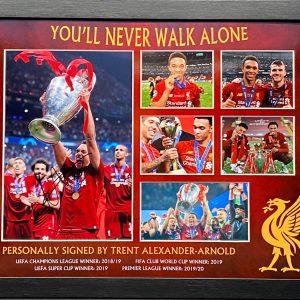 Liverpool signed Trent Alexander Arnold Photo Montage Framed Trophy Celebrations