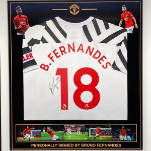 Manchester Utd shirt signed by Bruno Fernandes , Professionally framed