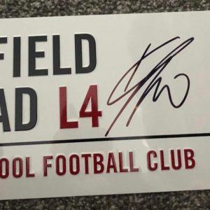Jurgen Klopp signed Street sign Liverpool  Premier League Champions