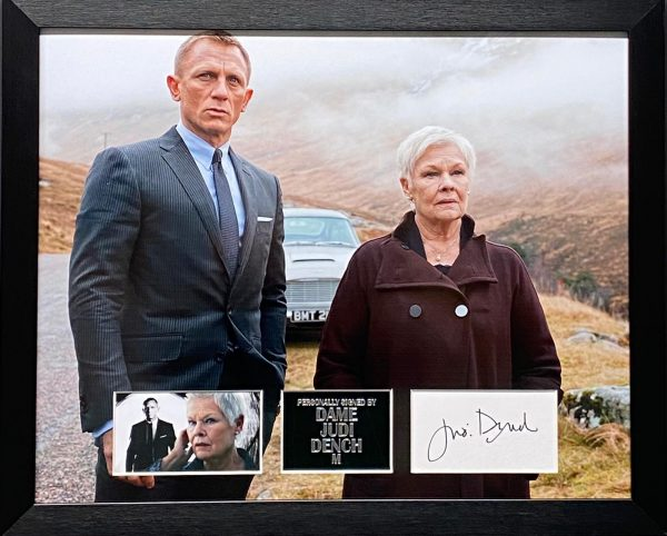 James Bond & M picture with signature of Dame Judi Dench professionally framed