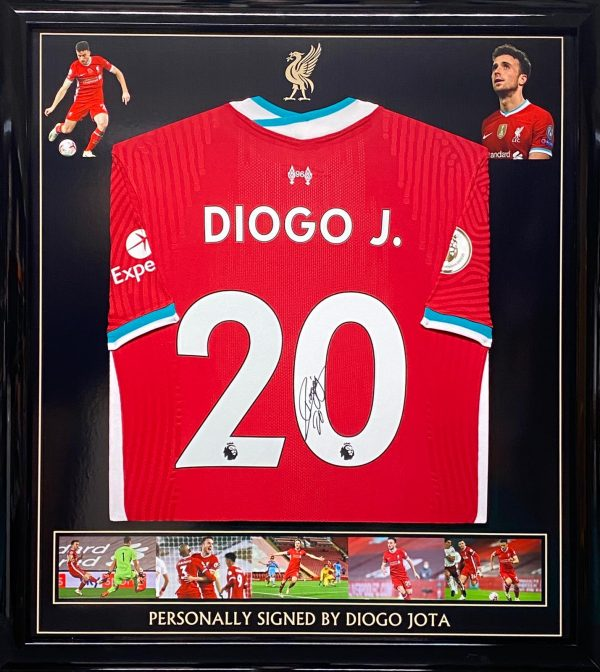 Liverpool  shirt 2020/2021 season in a quality black framed display signed by Diogo Jota
