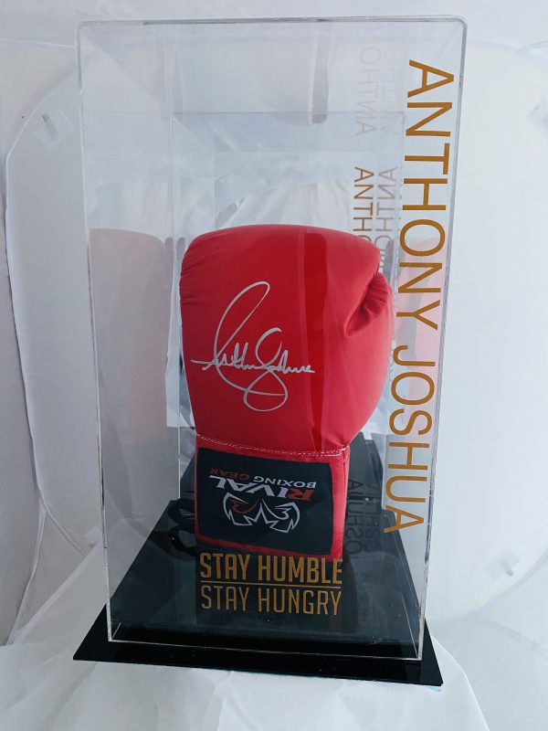 Anthony Joshua Hand Signed Red Rival Boxing Glove In Quality Display Case
