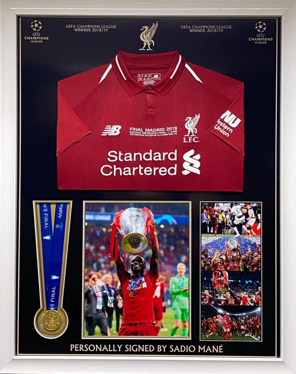 Liverpool champions league final Shirt and medal montage signed by Sadio Mane, professionally framed