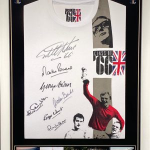 England 1966 World Cup Signed By 7 Retro T-Shirt and Photo Display framed