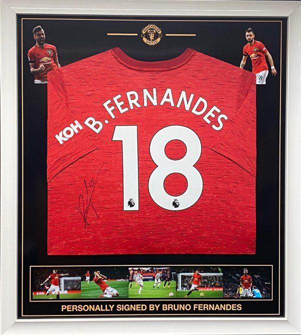 Manchester Utd Home shirt signed by Bruno Fernandes , Professionally framed
