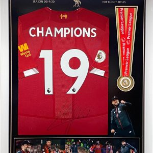 Liverpool Football Shirt signed by Jurgen Klopp , with Premier League medal  professionally framed.