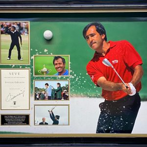 """Seve"" Ballesteros montage  display personally signed by Seve"