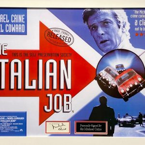 Italian Job montage  display personally signed by Sir Michael Caine