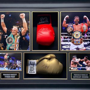 Tyson Fury and Anthony Joshua Signed  Boxing Gloves in Montage professionally framed