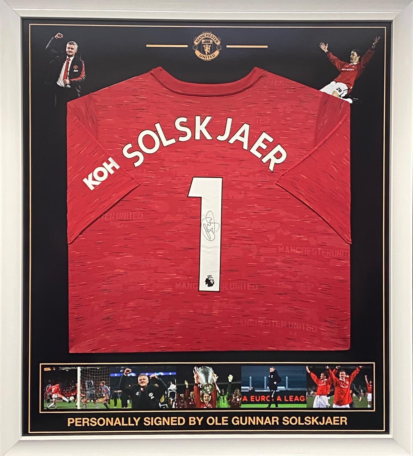 Man Utd Framed Shirt Montage of Celebrations Of Management & champions league final 1999 Signed by ole Gunnar solskjaer