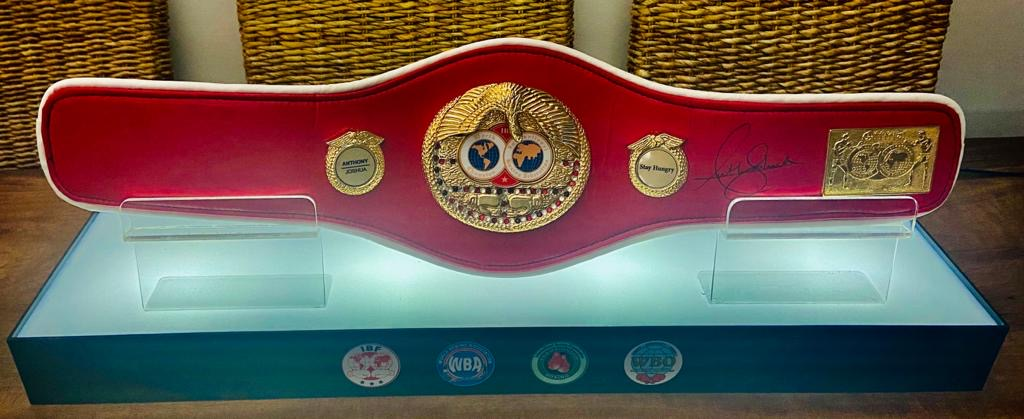Anthony Joshua Hand signed IBF Red Boxing Belt in light-up quality display)