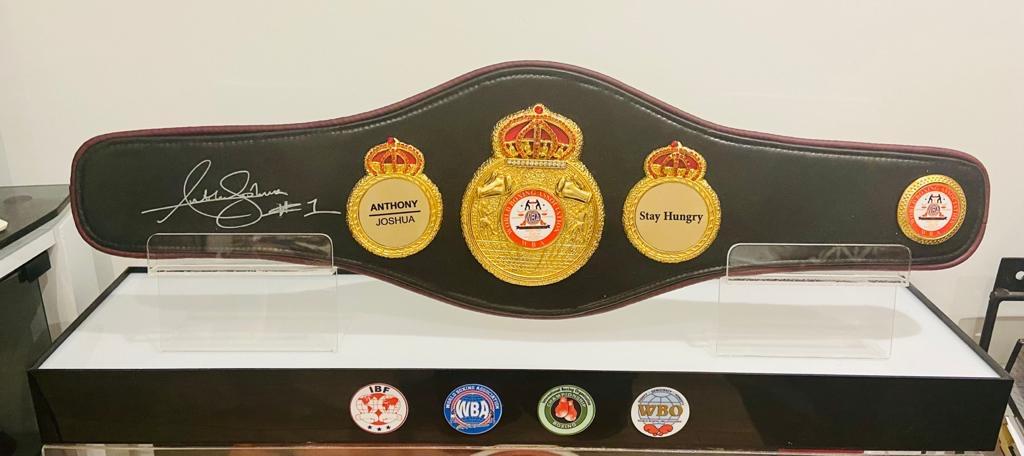 Anthony Joshua Hand signed WBA Black Boxing Belt in light-up quality display